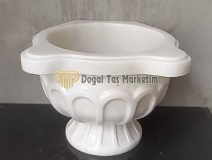 Osmanlı Modeli İşlemeli Süper Beyaz Mermer Kurna